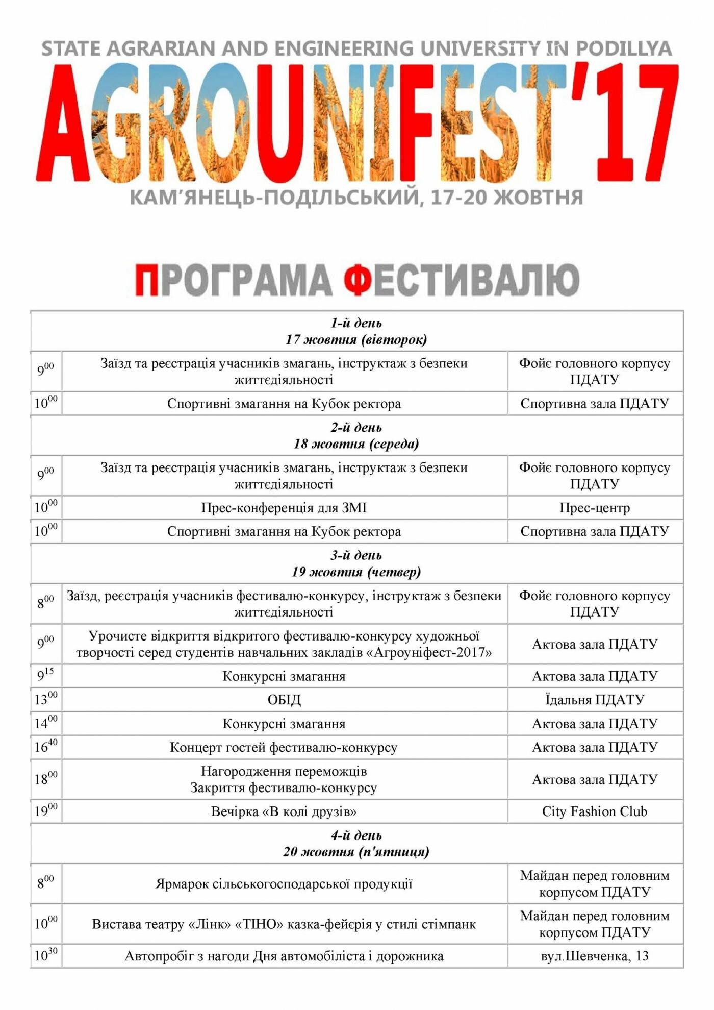 «Агроуніфест-2017». Програма фестивалю, фото-1