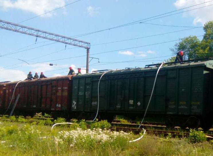 На Хмельниччині рятувальники разом із залізничниками не допустили загорання вантажного потягу, фото-2