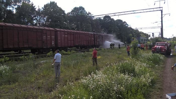 На Хмельниччині рятувальники разом із залізничниками не допустили загорання вантажного потягу, фото-4