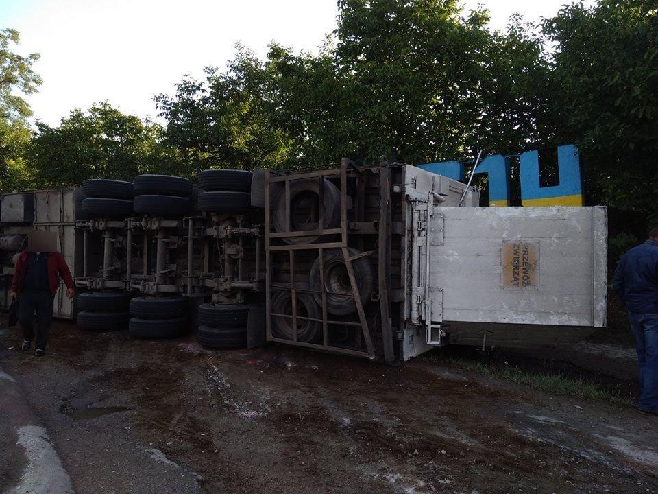 Поблизу Дунаївців перекинувся вантажний автомобіль, фото-1