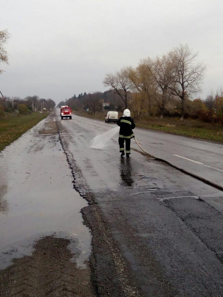 На автотрасі в селі Колибаївка стався вилив дизельного палива, фото-3