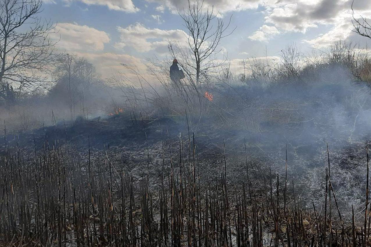 Суха трава на Кам'янеччині не припиняє горіти, фото-1, Фото: ГУ ДСНС України у Хмельницькій області