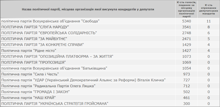 Офіційні результати виборів депутатів Кам'янець-Подільської міської ради, фото-1