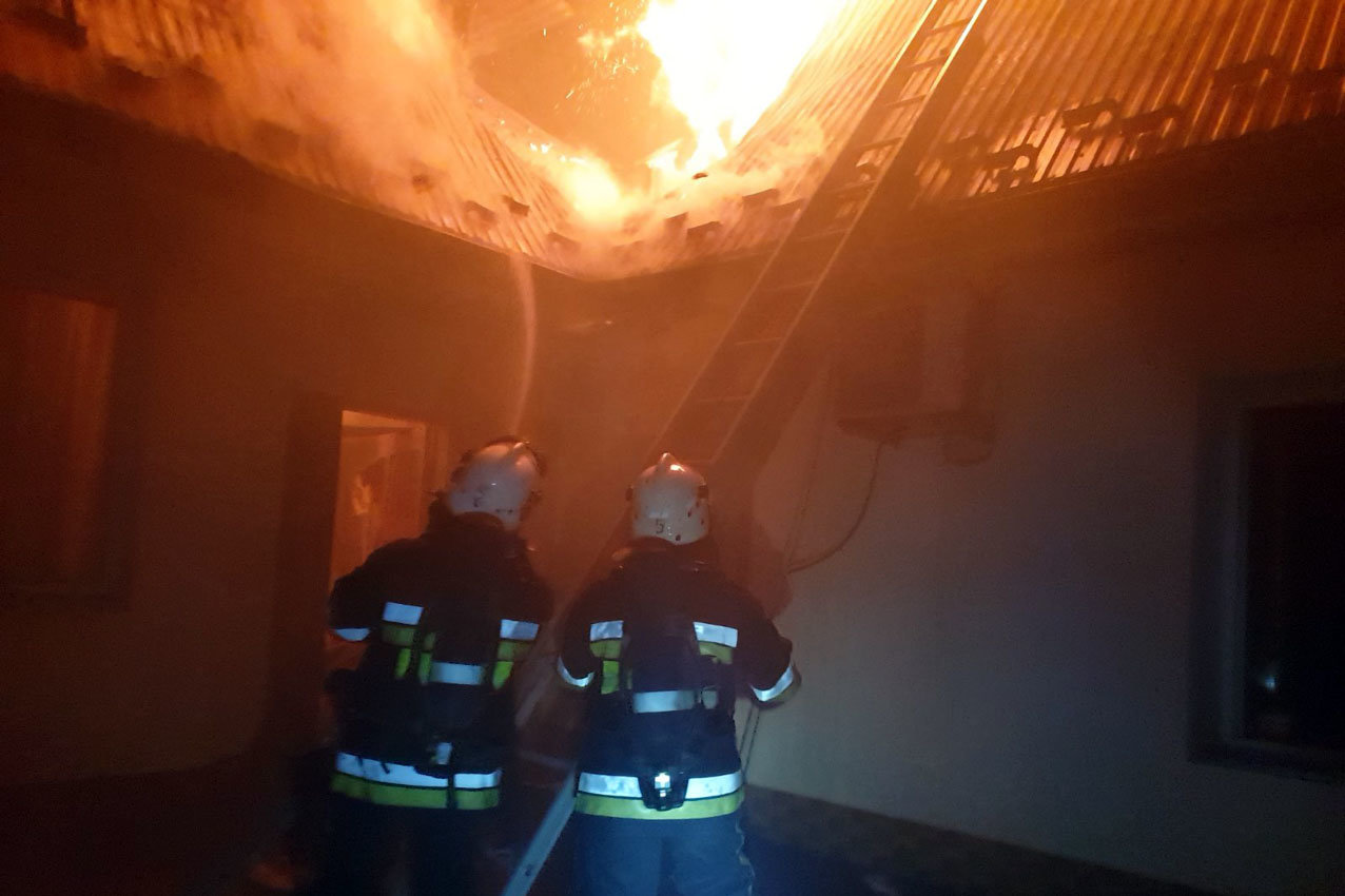 Пожежа по вул. Базарна, Фото: ГУ ДСНС України у Хмельницькій області
