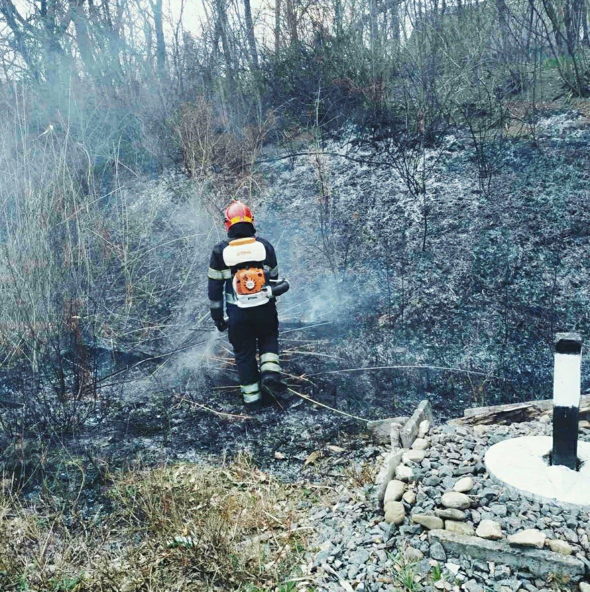 По вулиці Крип'якевича рятувальники ліквідовували загоряння сухої трави, фото-3