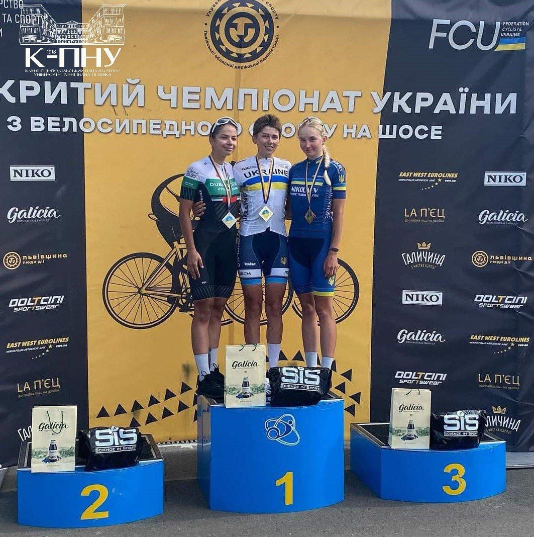 Студентки кам'янецького вишу - призерки чемпіонату України з велосипедного спорту , фото-1